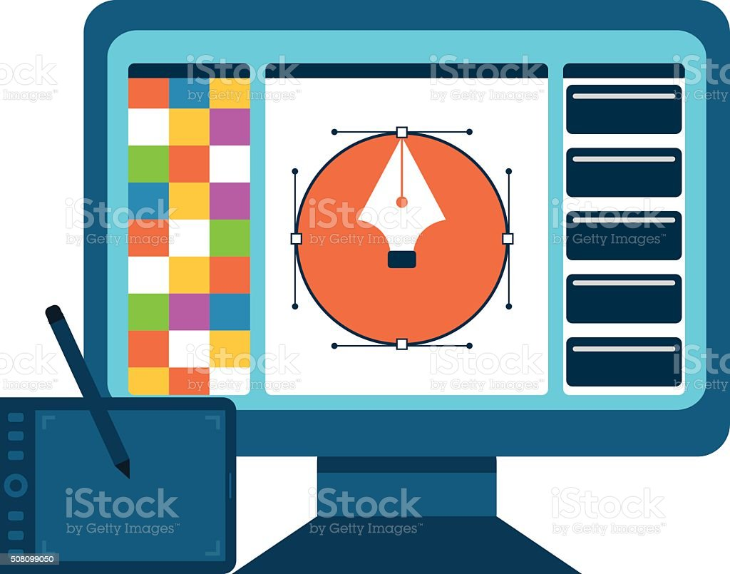 Printing and graphic design concept. vector art illustration