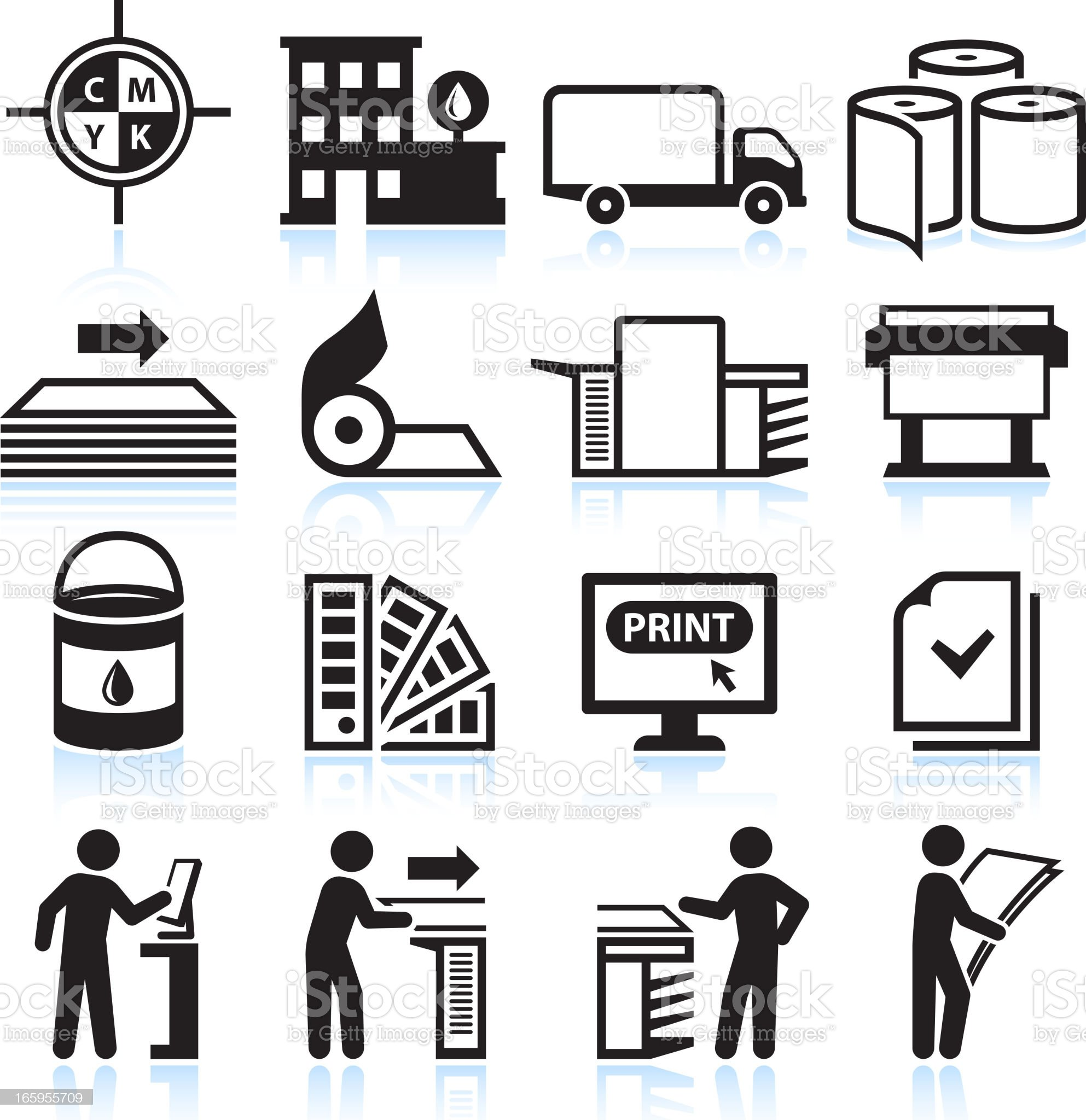 Printing and Publishing Industry black & white vector icon set royalty-free stock vector art