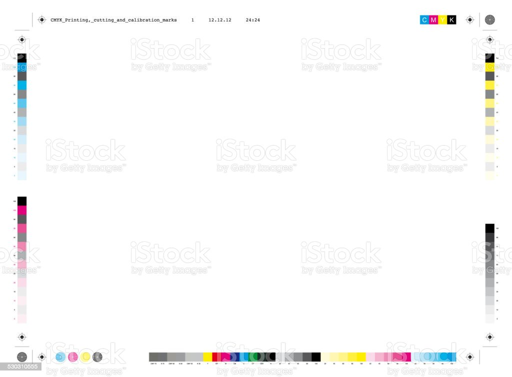 CMYK printing, cutting and calibration marks vector art illustration
