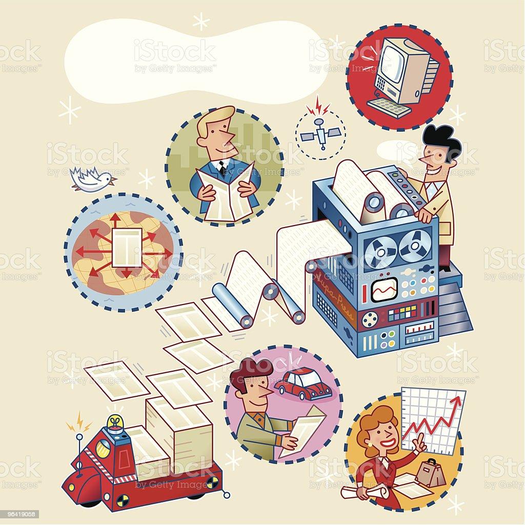 Printing + Distribution vector art illustration