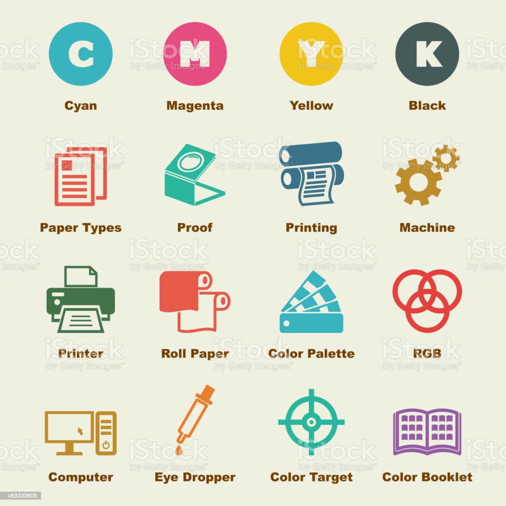 printing elements vector art illustration