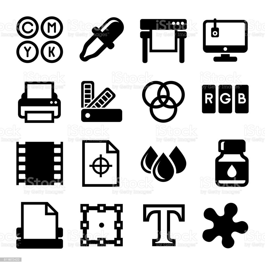 Printing Icons Set on White Background. Vector vector art illustration