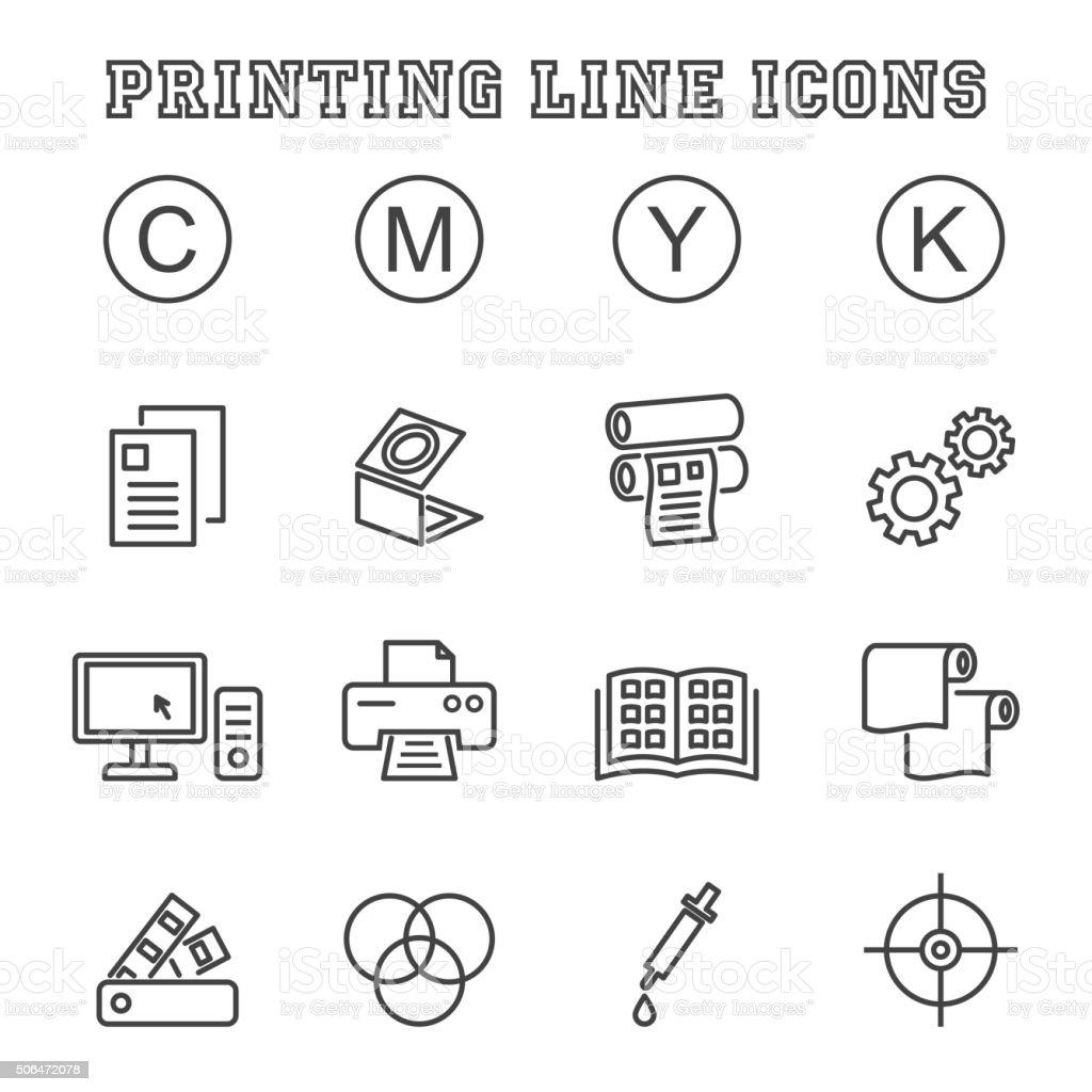 printing line icons vector art illustration