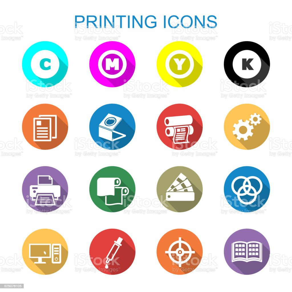 printing long shadow icons vector art illustration