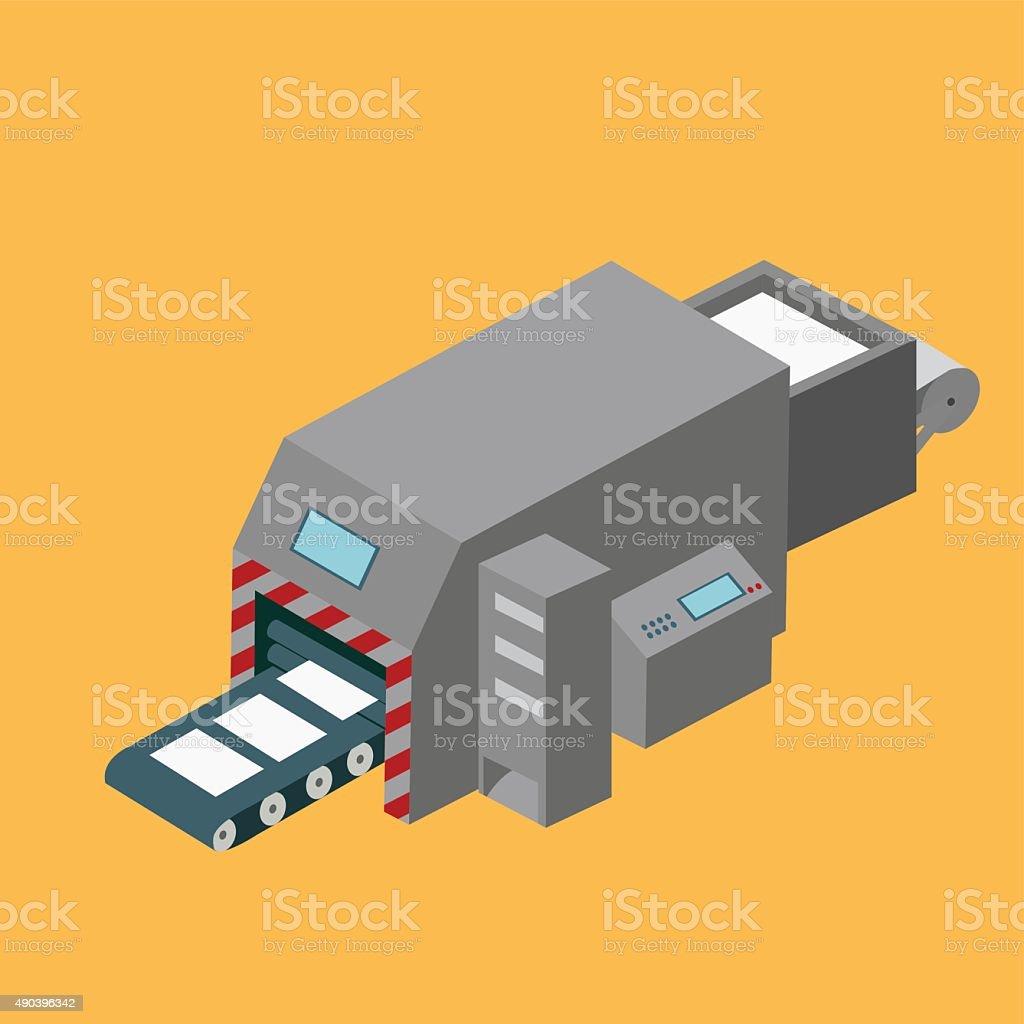 Printing machine isometric design vector art illustration