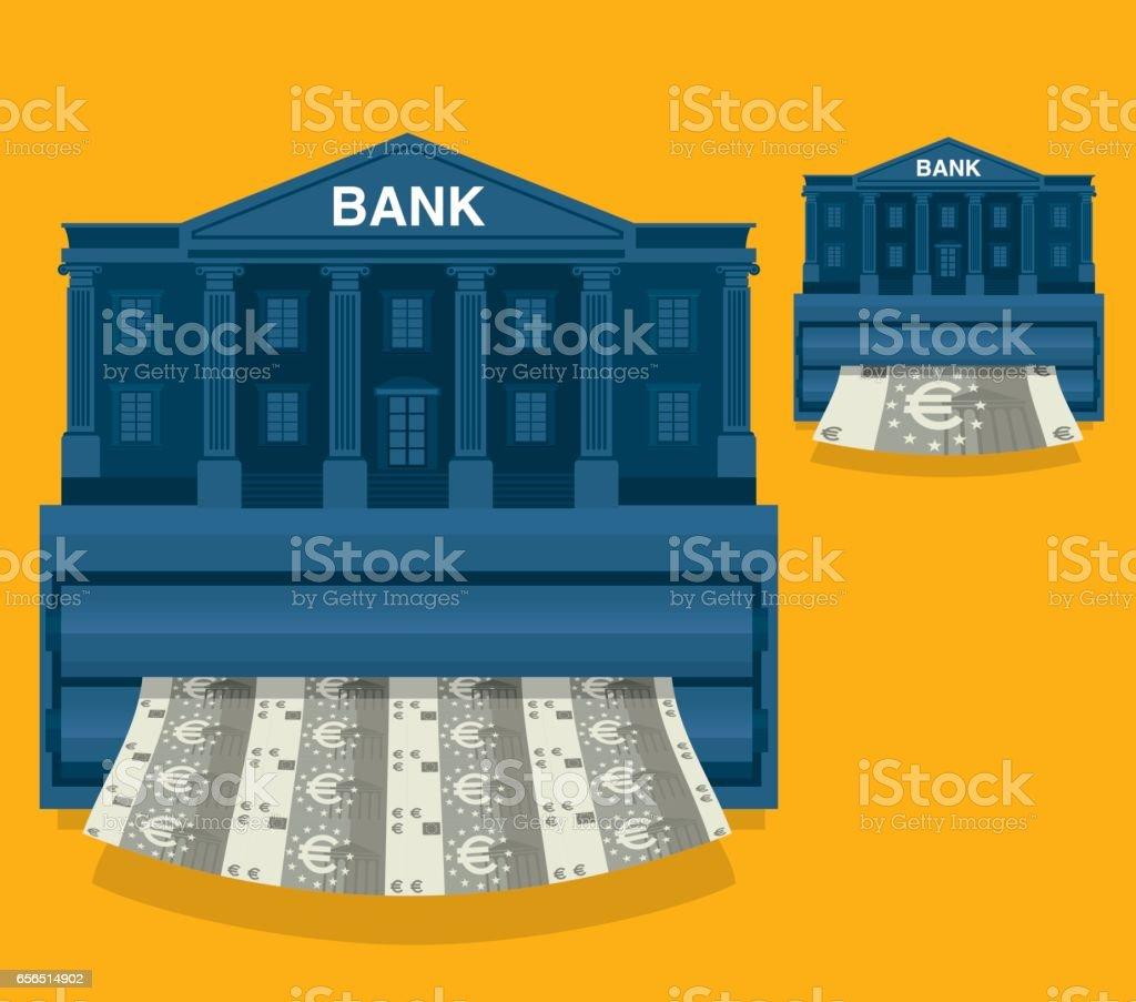 Printing Money - Euro vector art illustration