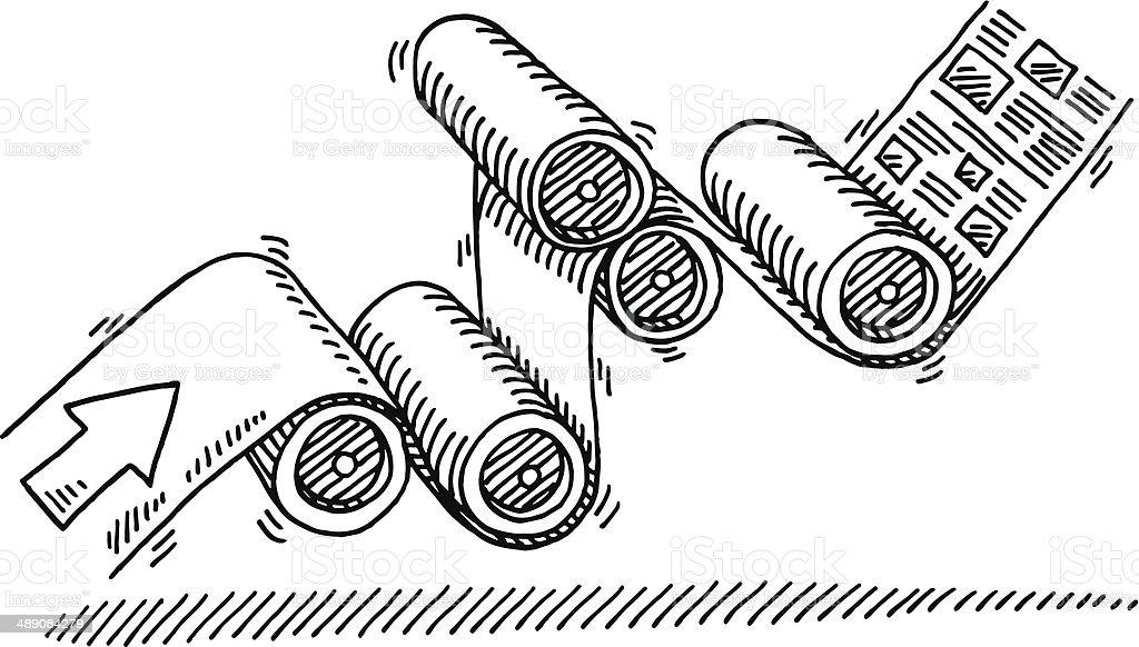 Printing Press Drawing vector art illustration