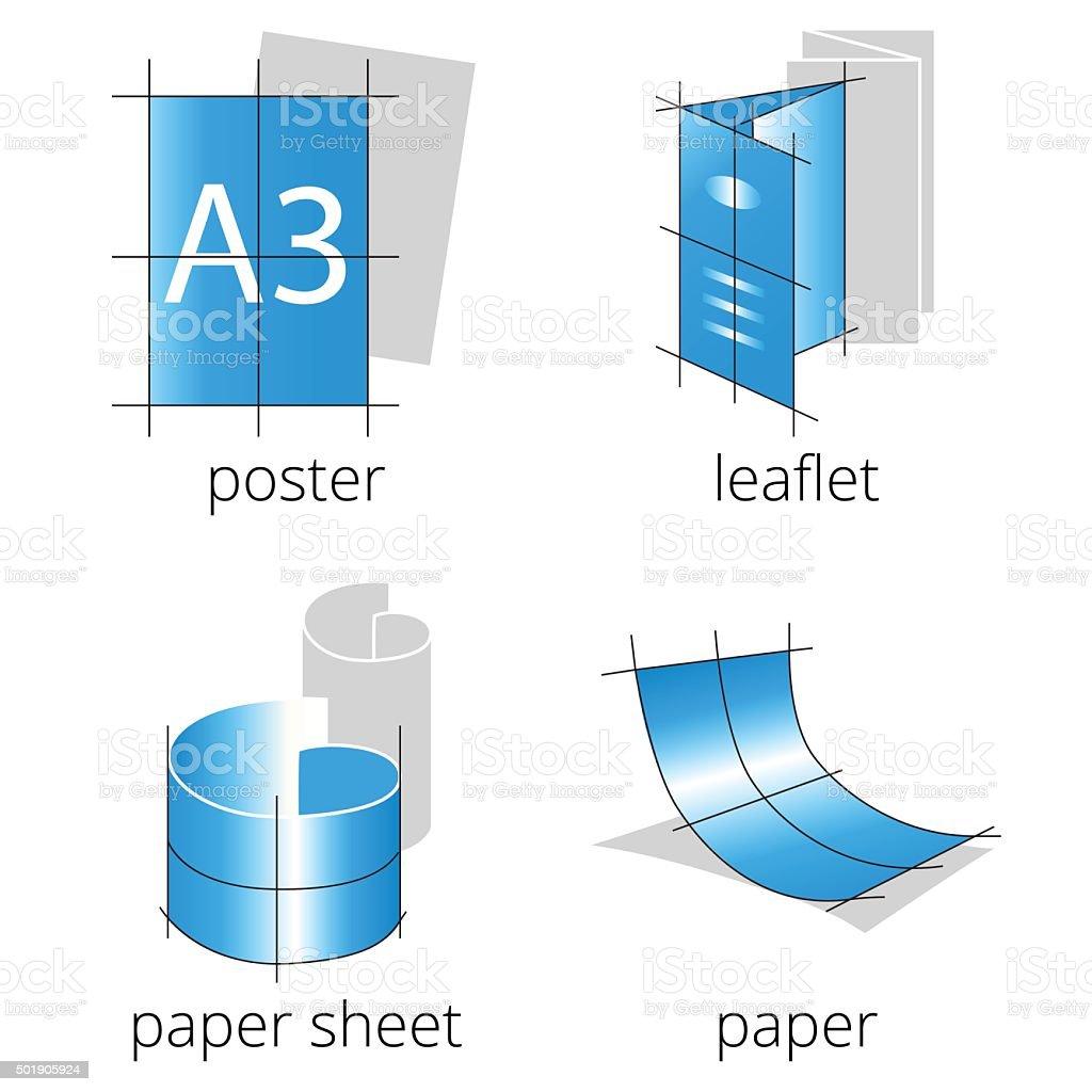 Printing shop services blue icons set. Part 1 vector art illustration