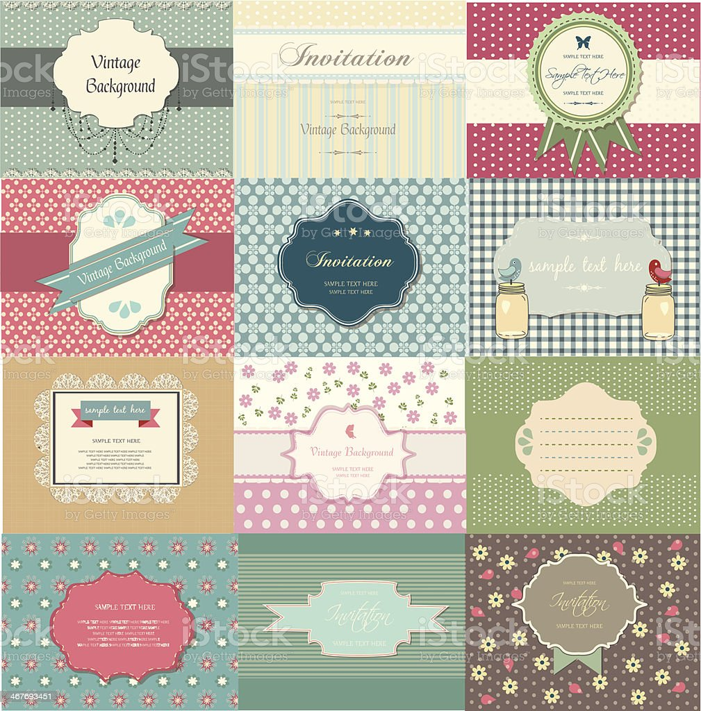 Printretro, vintage labels set, announcement royalty-free stock vector art