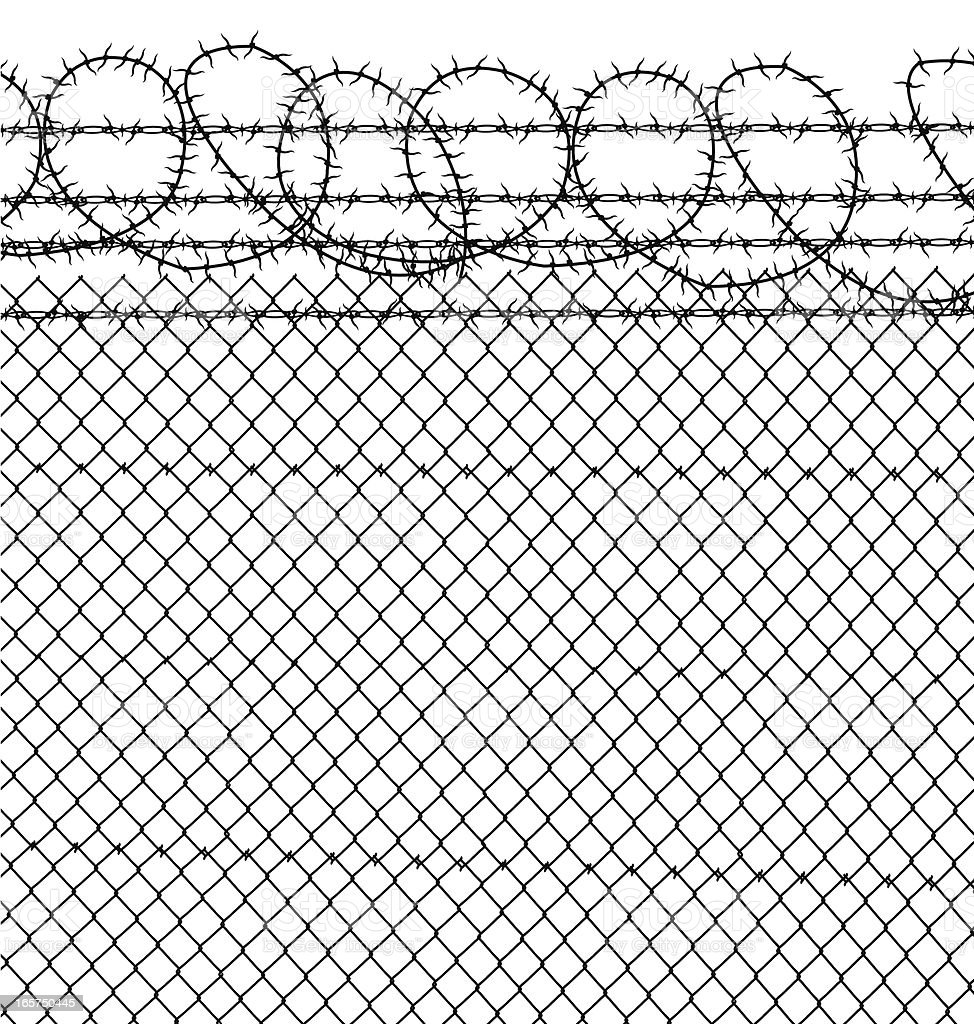 Prison - Barbed Wire & Chain Link Fence vector art illustration