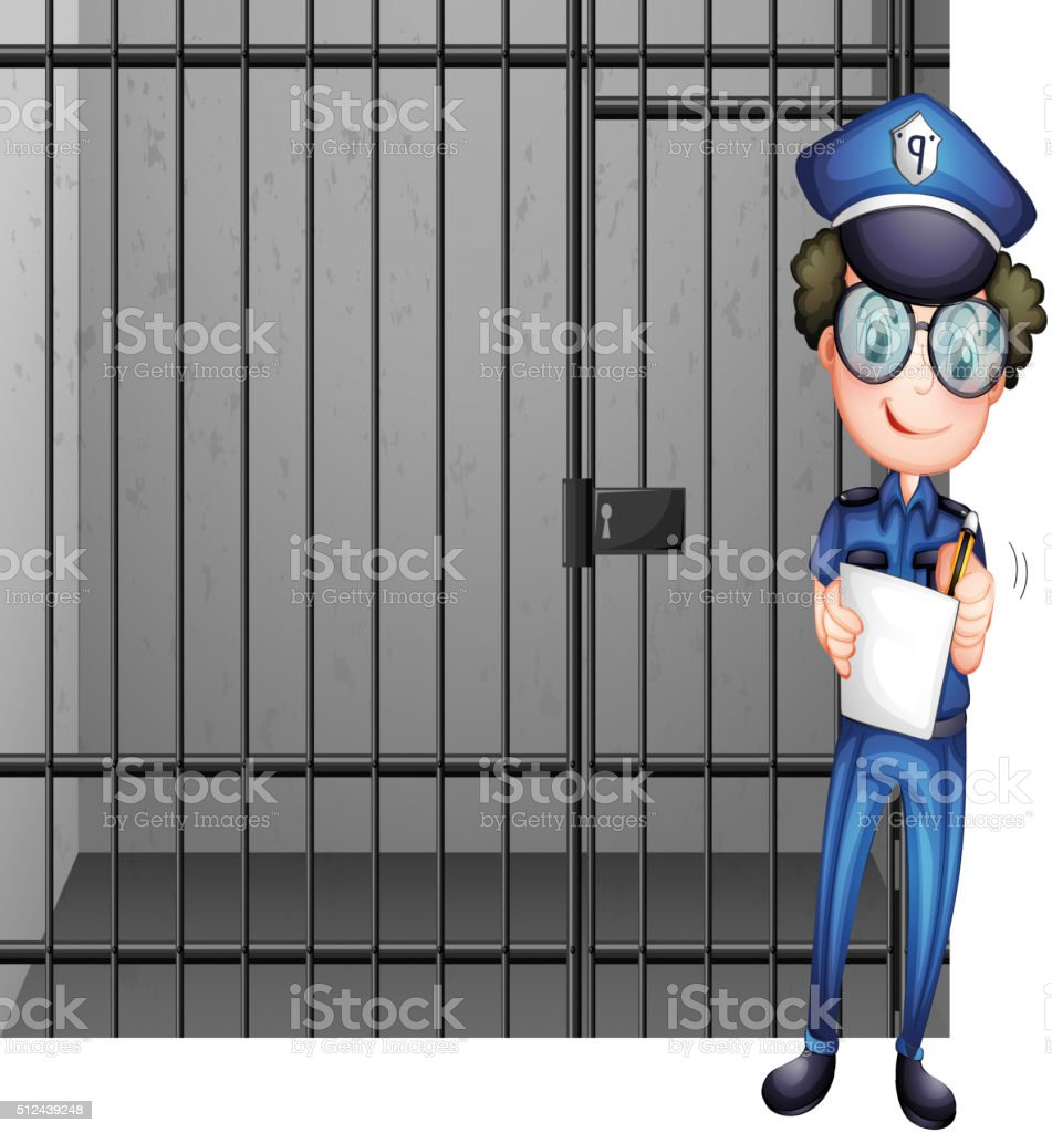 Prison cell and poliman vector art illustration