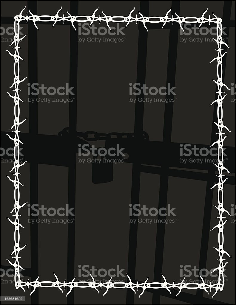 Prison Cell Background, Barbed Wire Frame vector art illustration