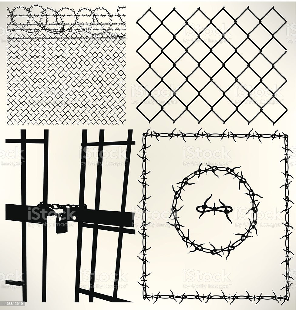 Prison Cell, Fence and Barbed Wire vector art illustration