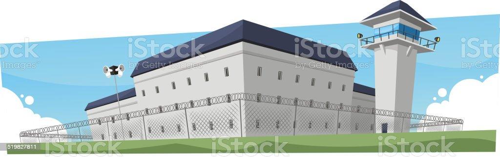 Prison Jail Penitentiary Building vector art illustration