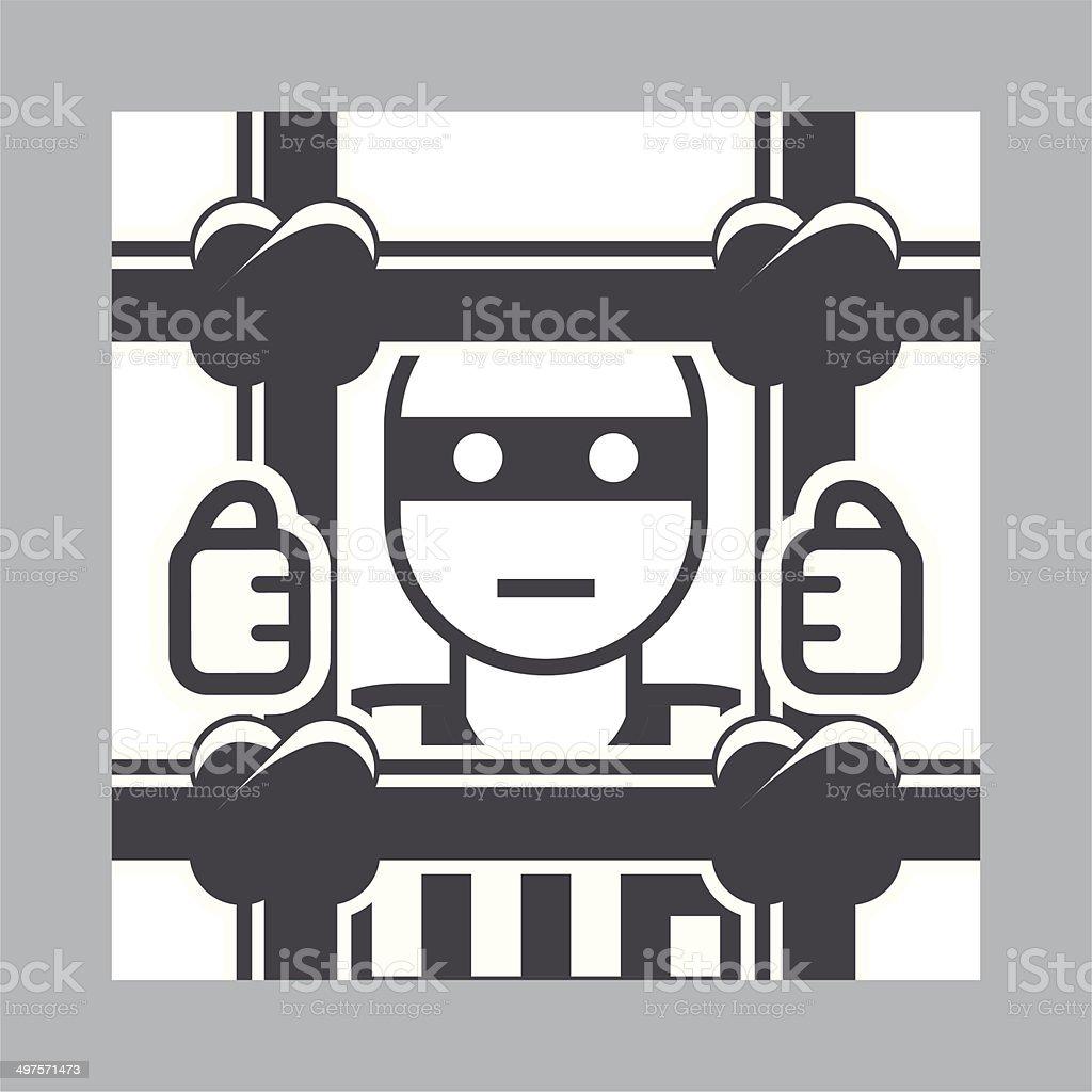 Prisoner behind bars - criminal in jail, simple icon vector art illustration