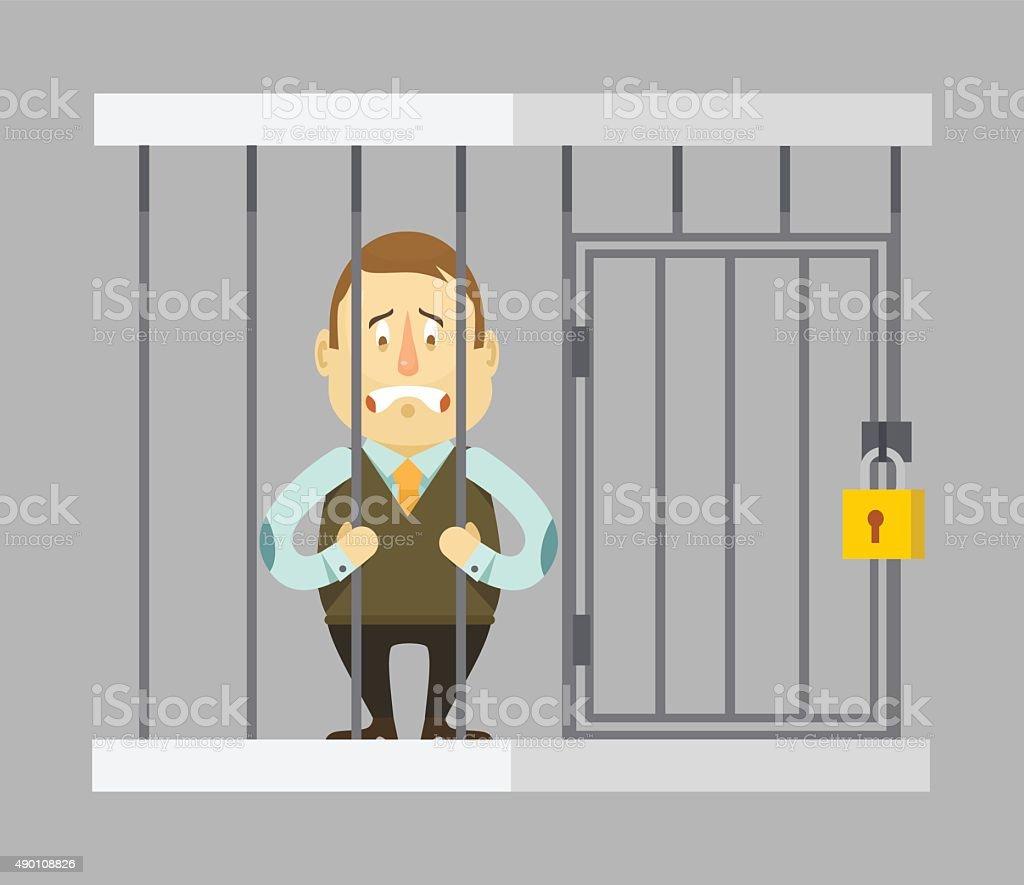 Prisoner businessman. Vector flat illustration vector art illustration