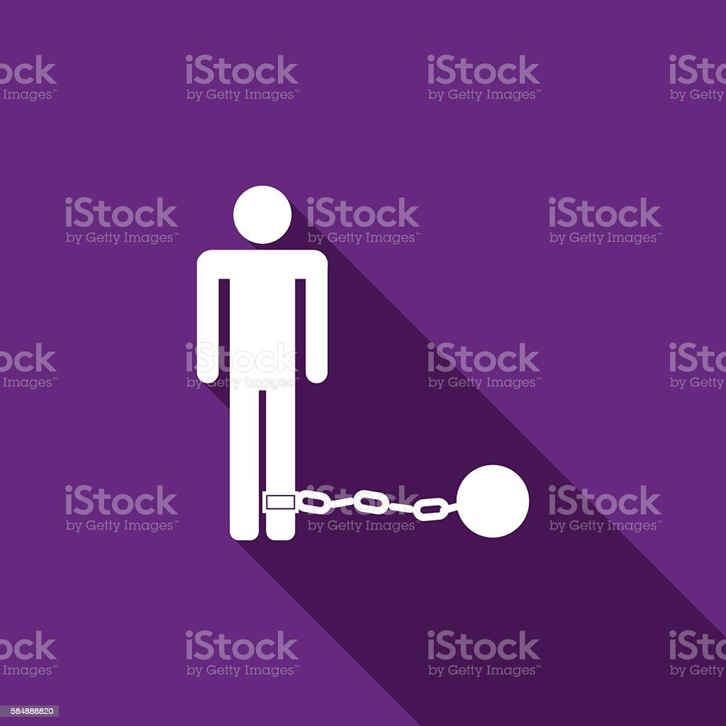 Prisoner with ball on chain icon long shadow. vector art illustration
