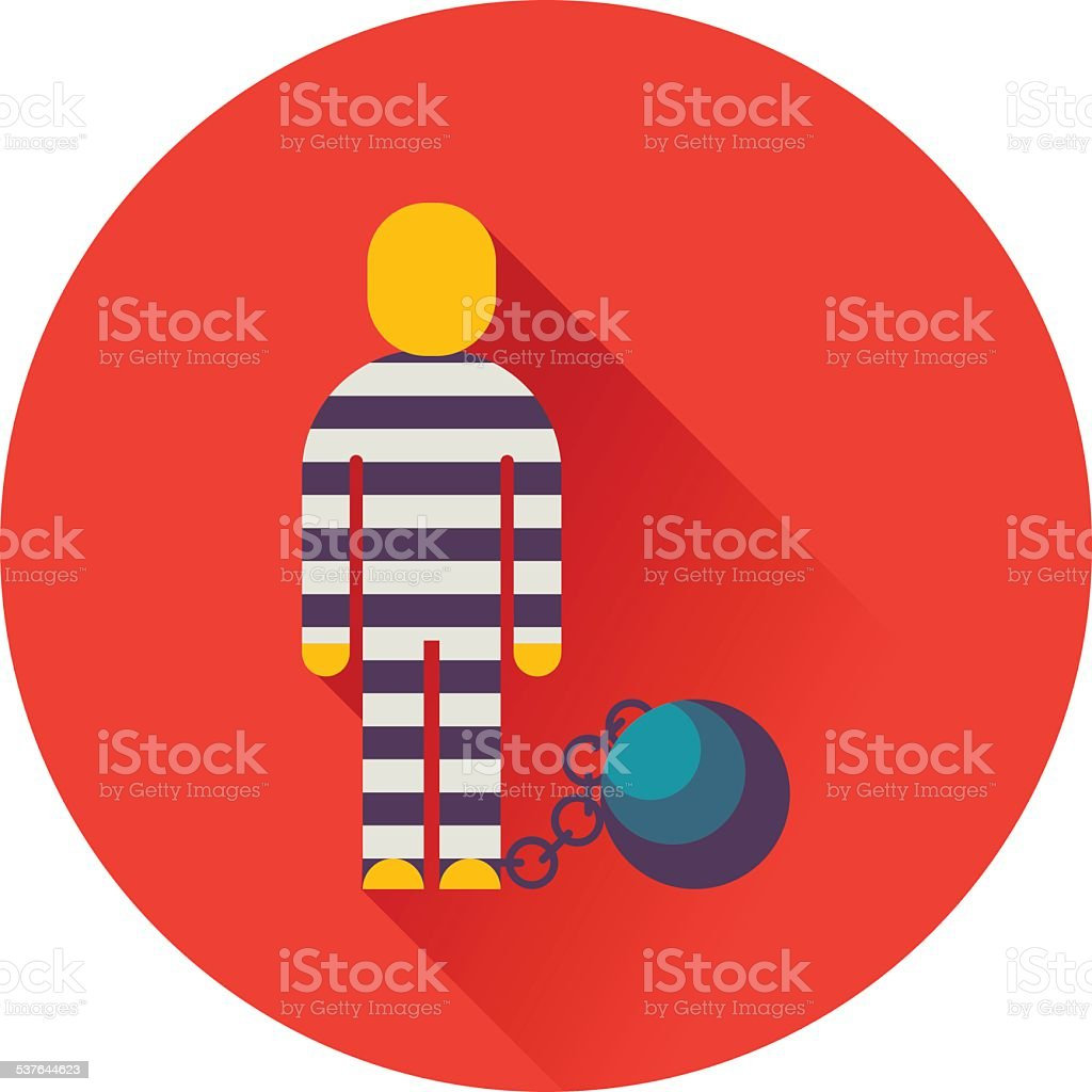 prisoner with ball on chain icon vector art illustration