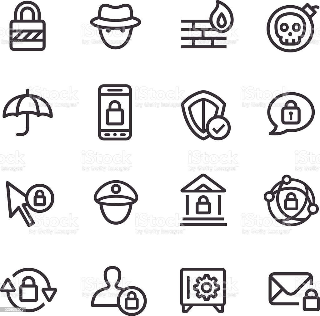 Privacy and Internet Security Icons - Line Series vector art illustration