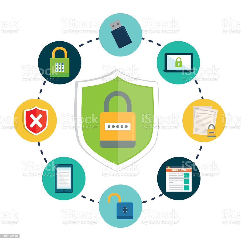 Privacy and security system graphic icons vector art illustration