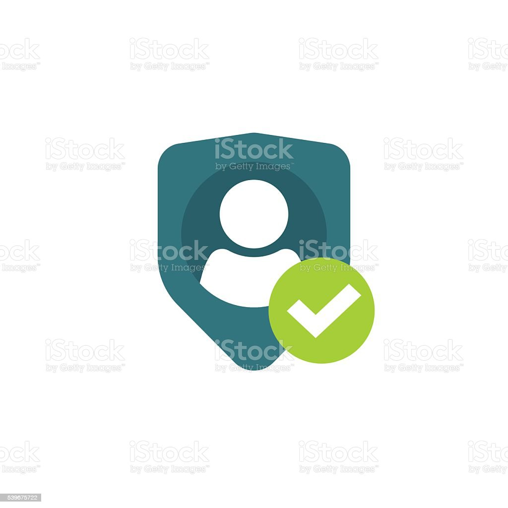 Privacy icon, personal protection, authentication security secure confidentiality label vector art illustration