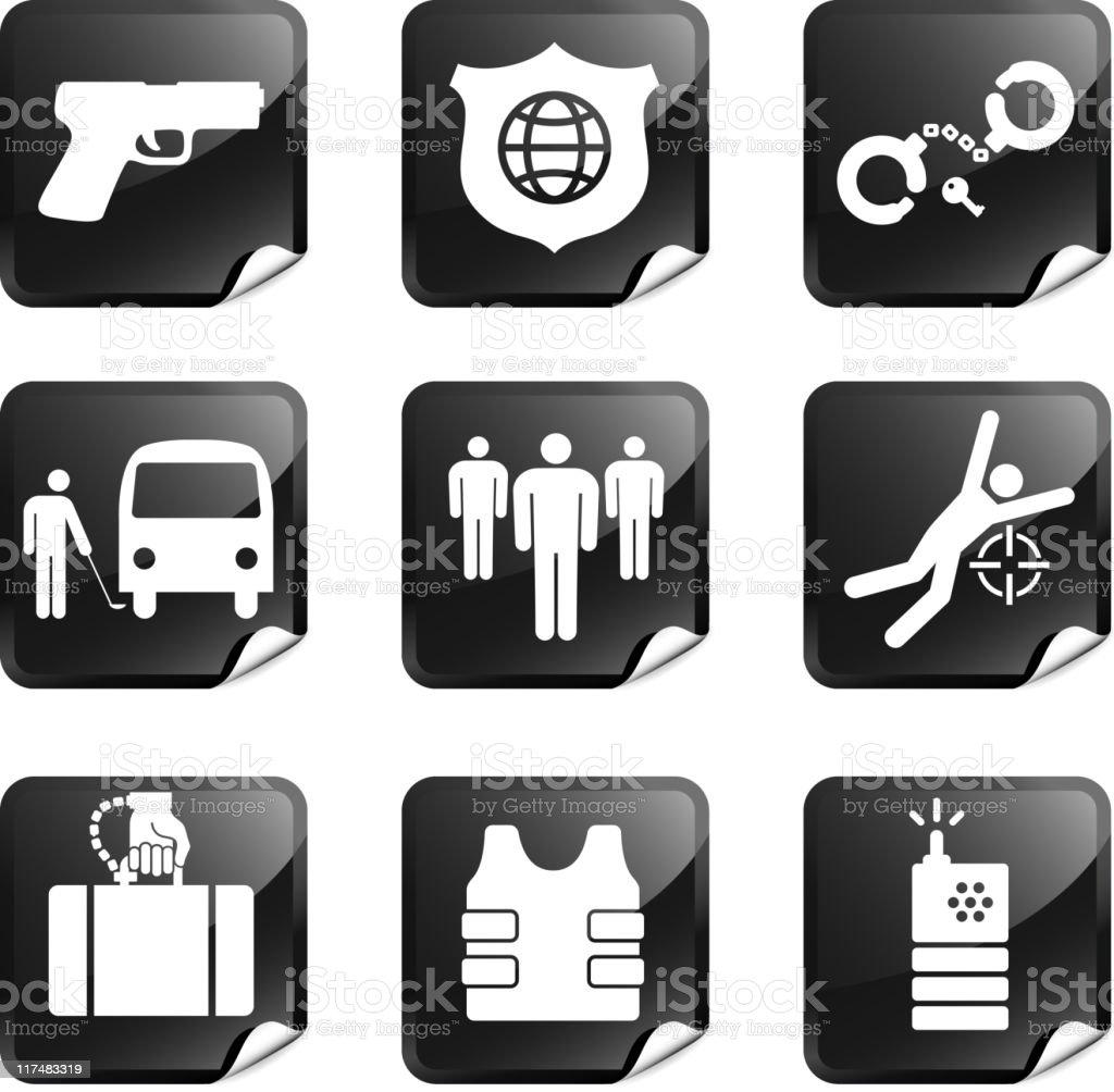 private security nine sticker set vector art illustration