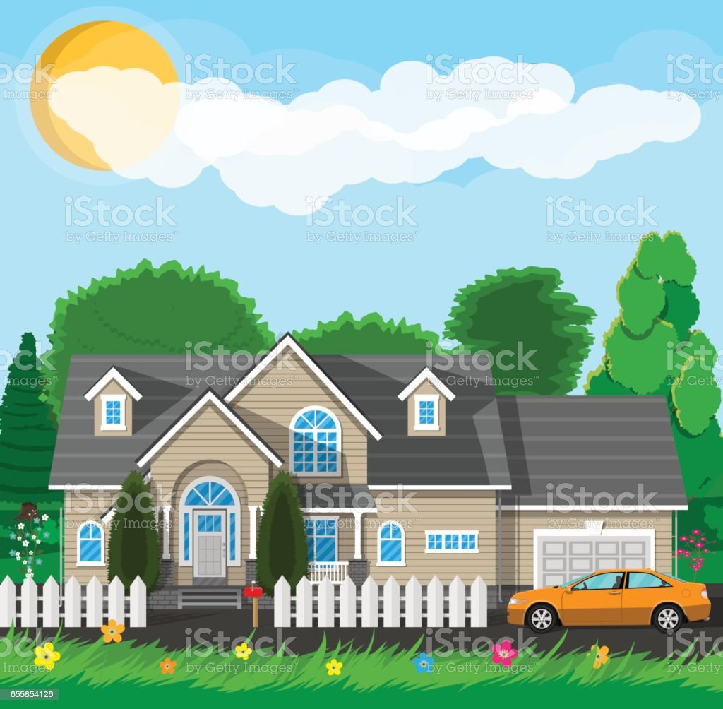 Private suburban house with fence vector art illustration