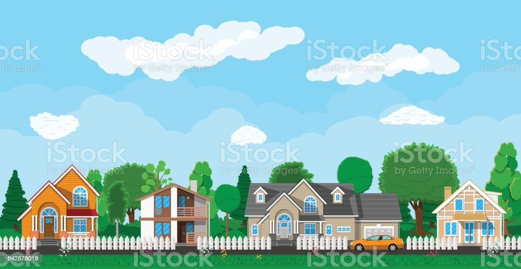 Private suburban houses with car vector art illustration