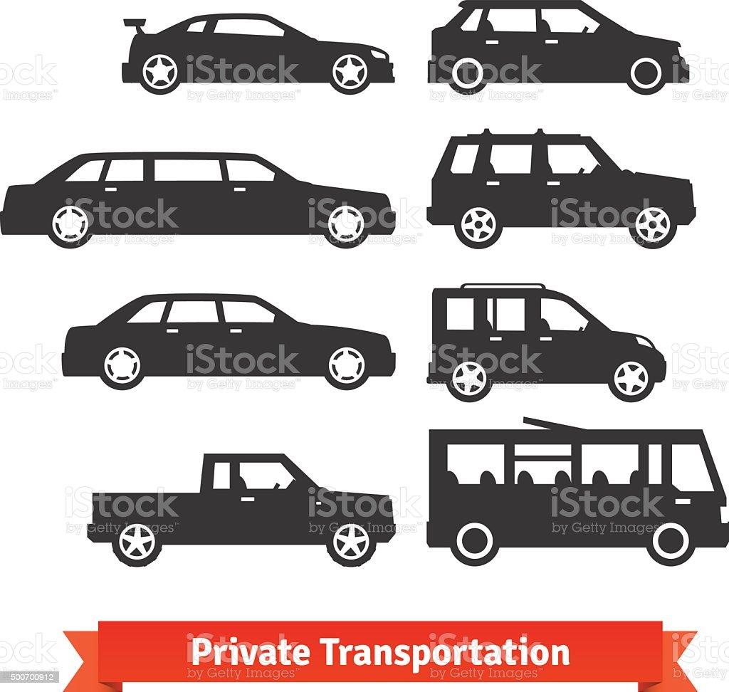 Private transportation. Set of various cars vector art illustration