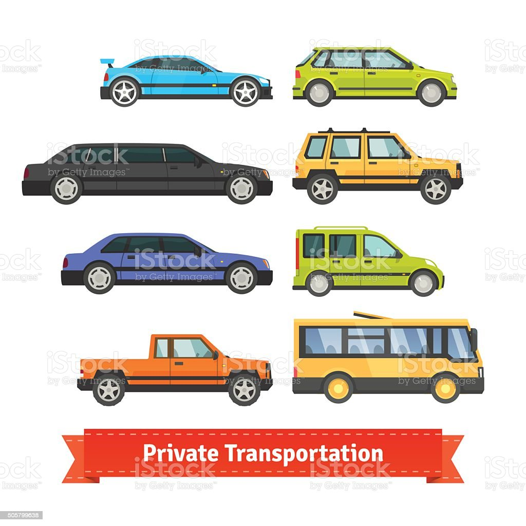 Private transportation. Various cars and vehicles vector art illustration