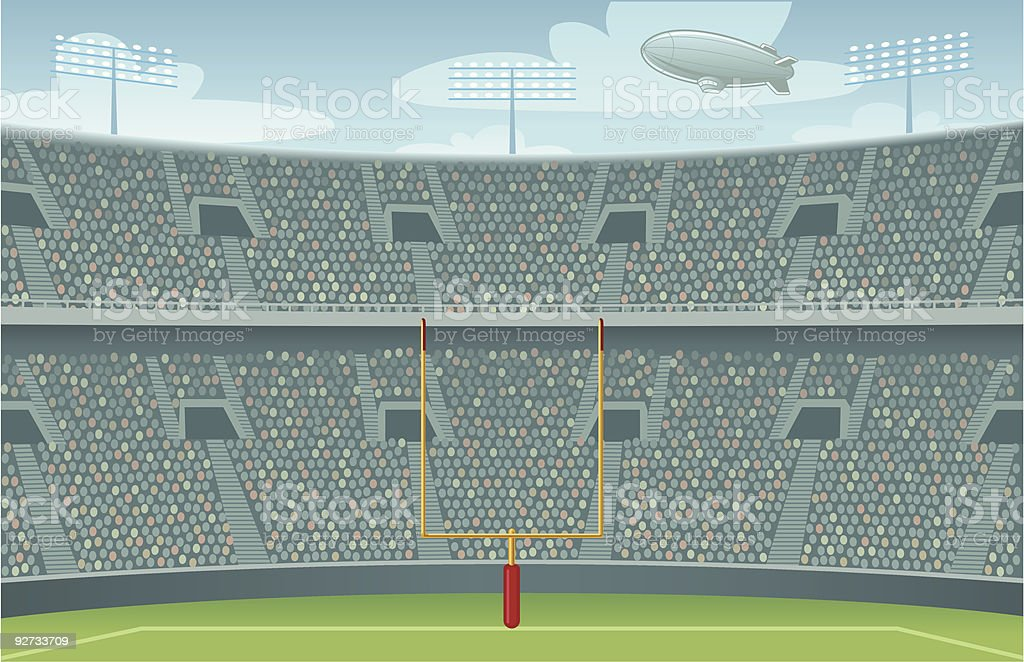 Pro Football Stadium Background - Day Version vector art illustration