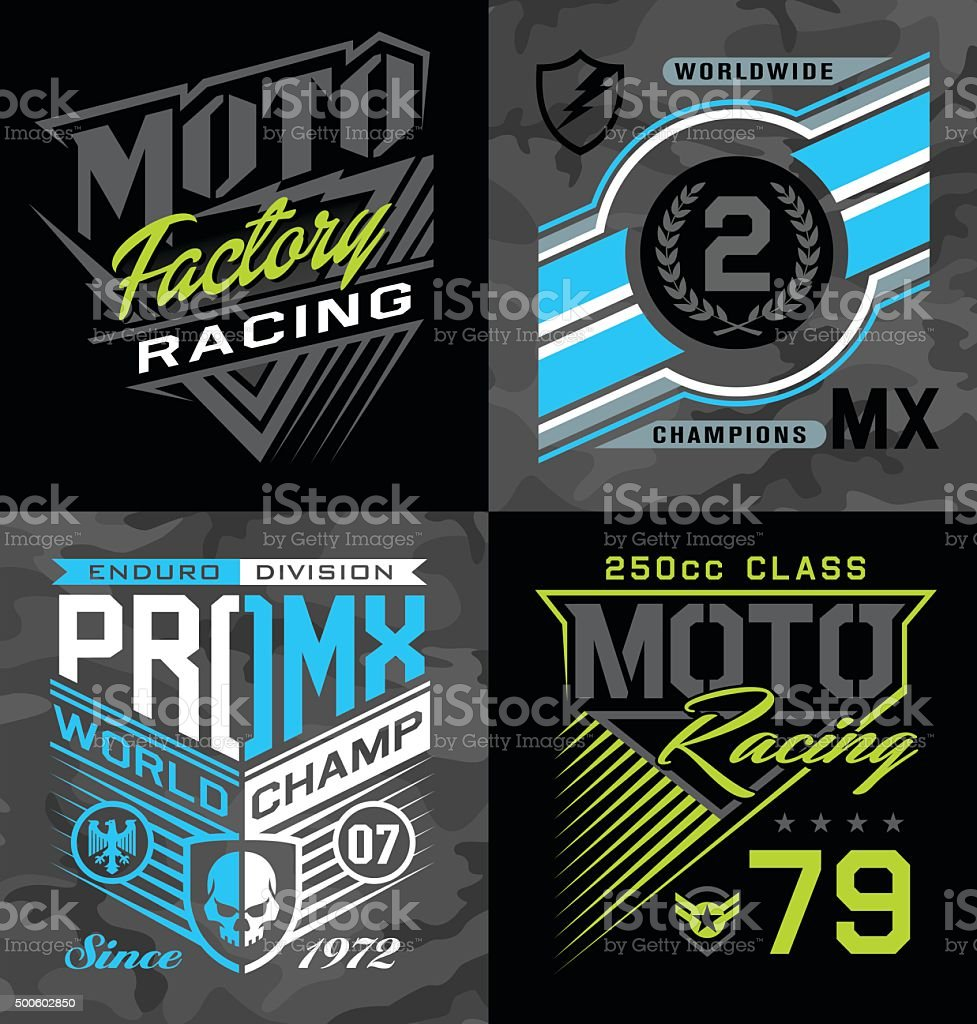 Pro motocross racing emblem graphic set vector art illustration