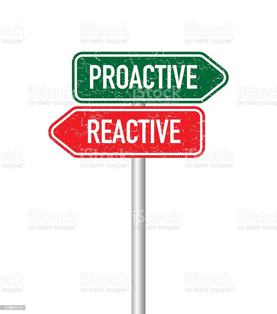 Proactive and reactive signpost vector art illustration