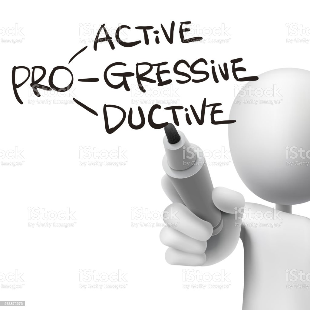 proactive, progressive and productive written by 3d man vector art illustration