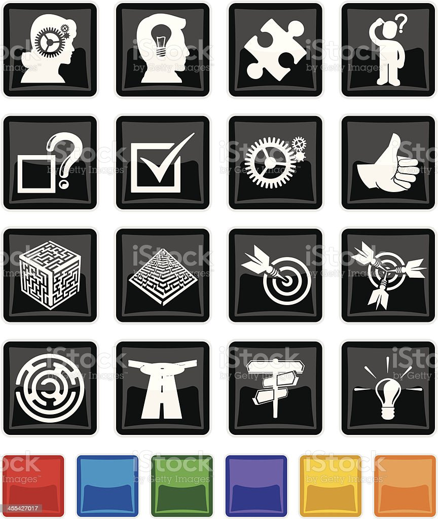 Problem Solving button Set royalty-free stock vector art