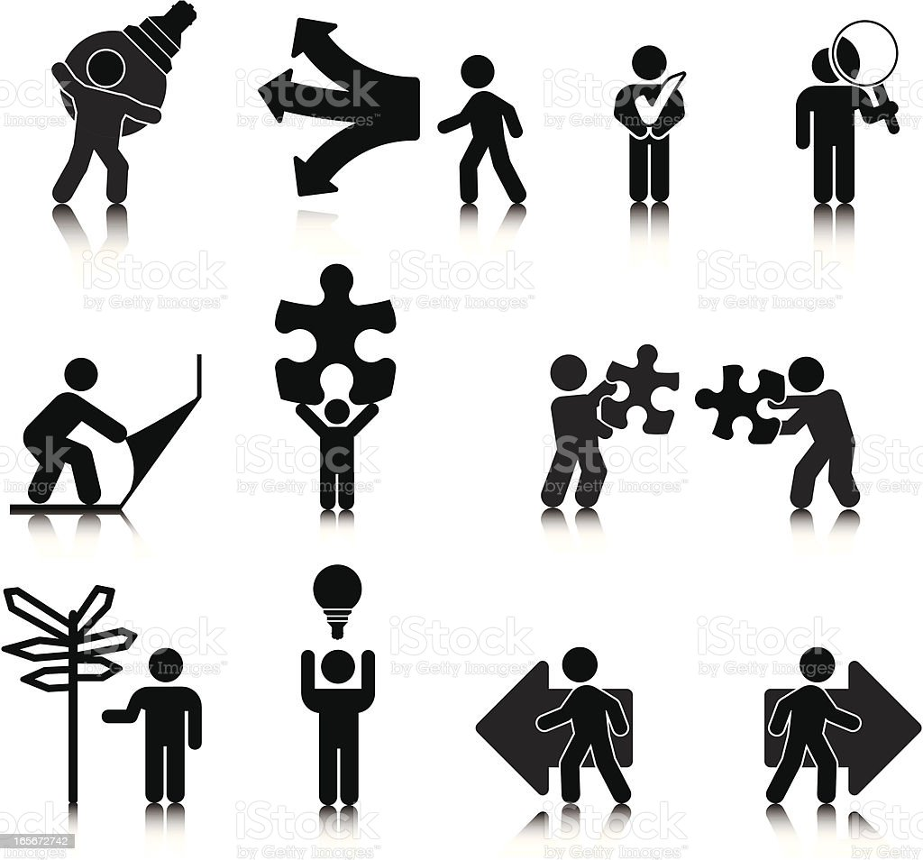problem solving graphic icons in black stock vector art