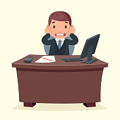 Problems disaster shock businessman character work office desktop cartoon design
