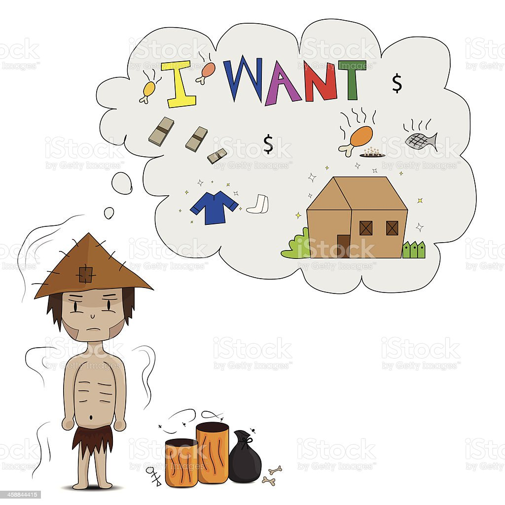 Problems poor people vector art illustration