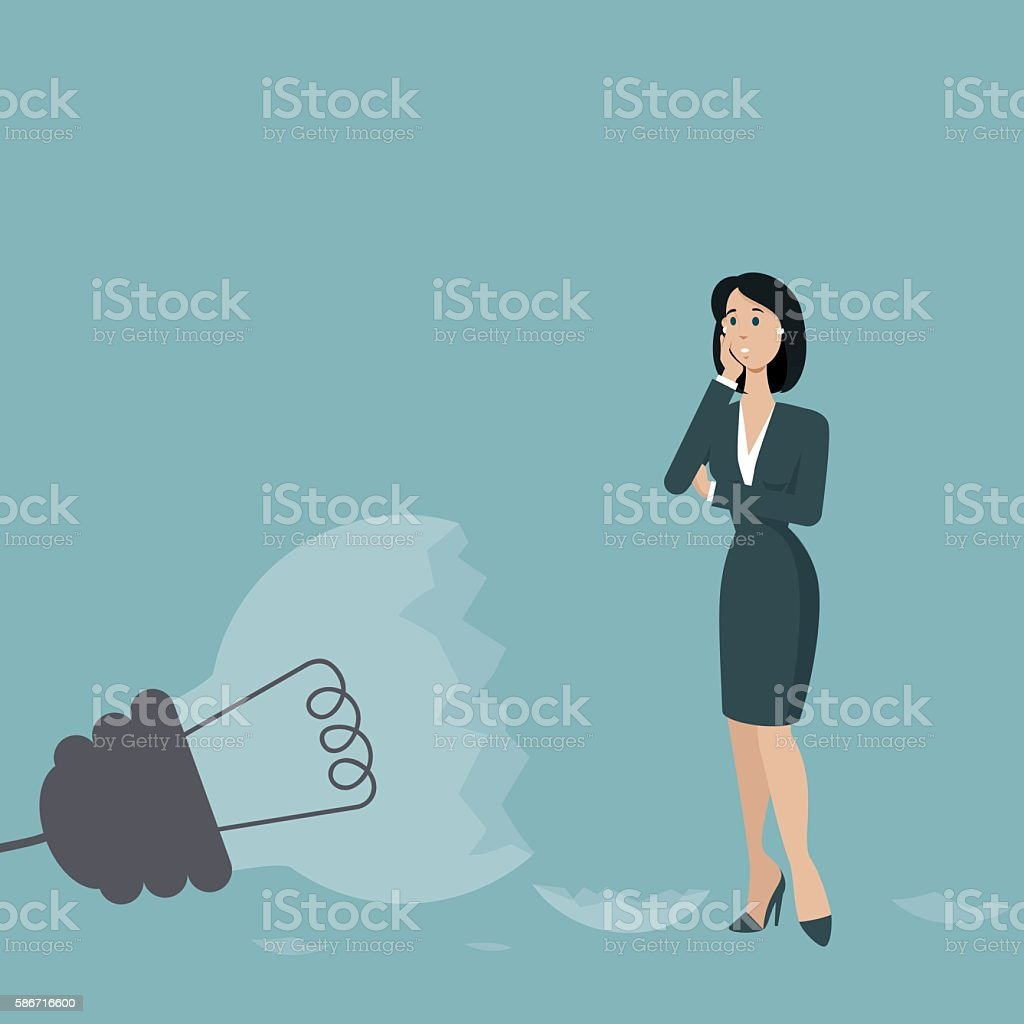 Problems with a idea vector art illustration
