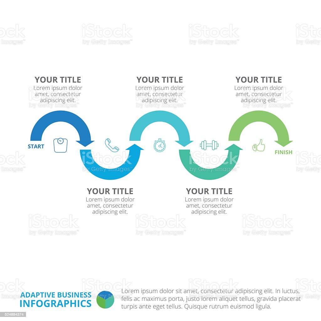 Process Chart Infographic Template 1 vector art illustration