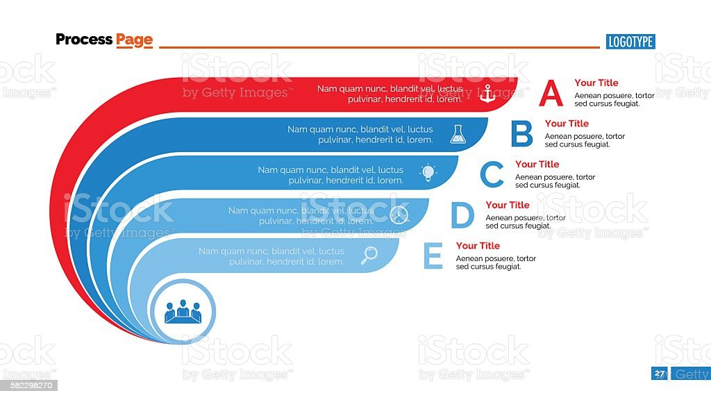 Process Chart Slide Template 8 vector art illustration