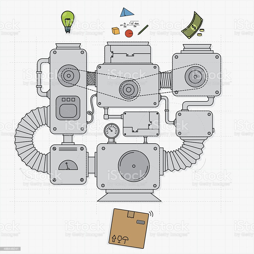 Process of a production vector art illustration