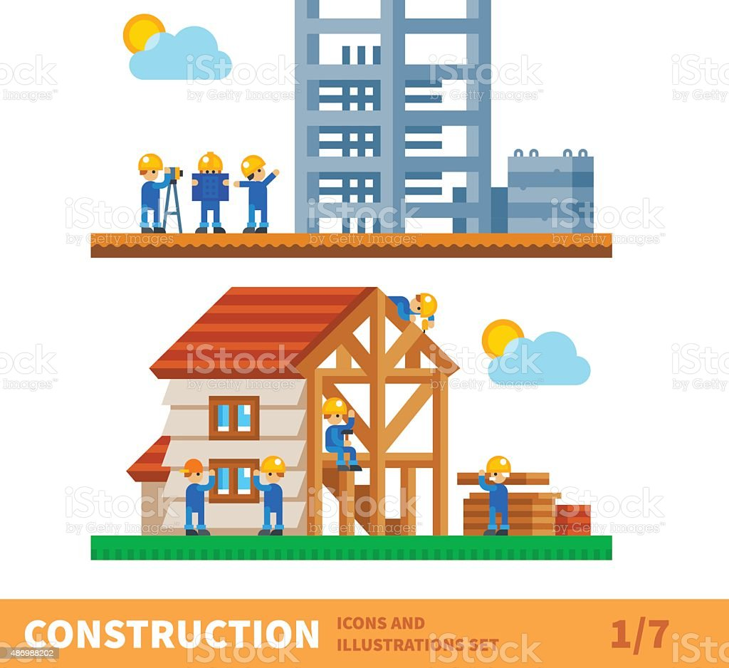 Process of building the house vector art illustration