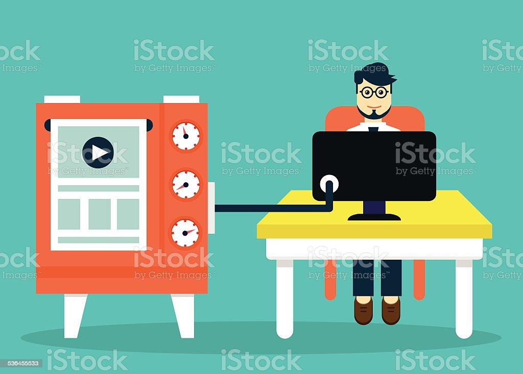 Process of creating site. Development skeleton wireframe of a website vector art illustration