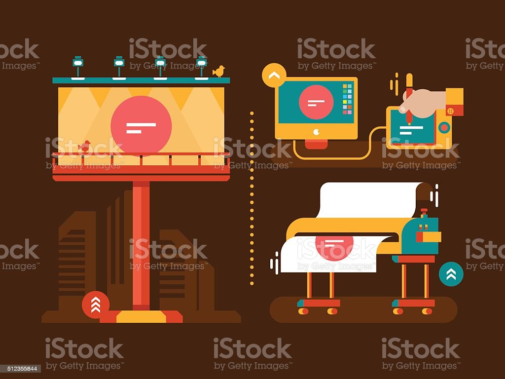 Process of creation outdoor advertising vector art illustration