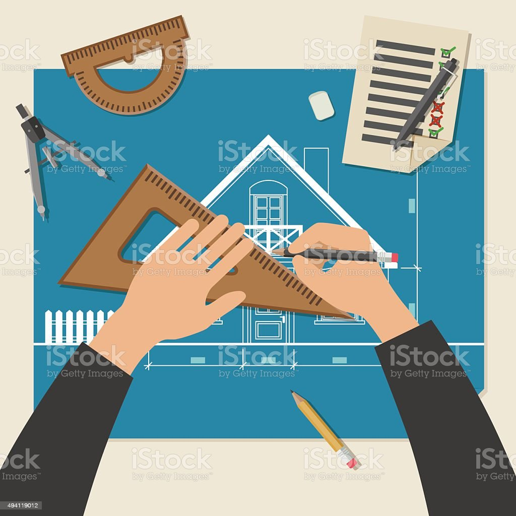 Process of designing the house. vector art illustration