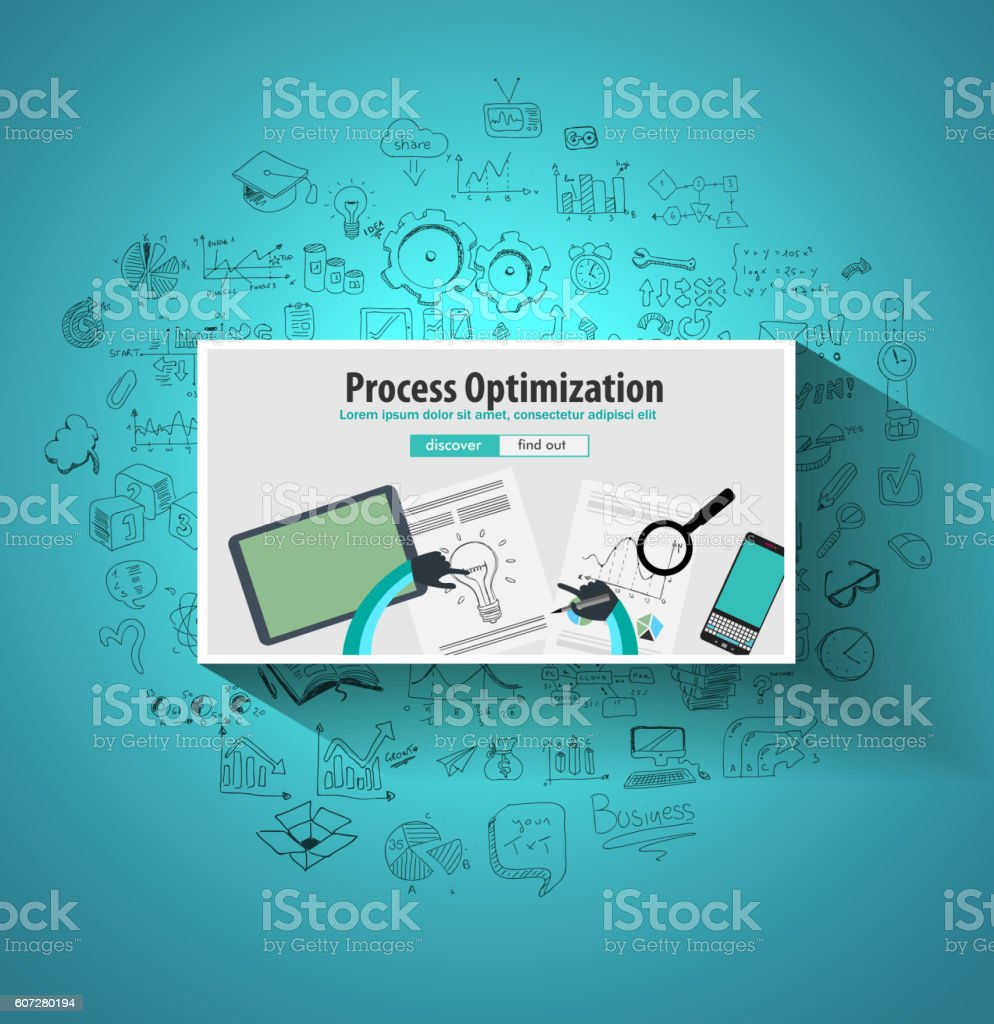 Process Optimization and Production Check Up concept with Doodle design vector art illustration