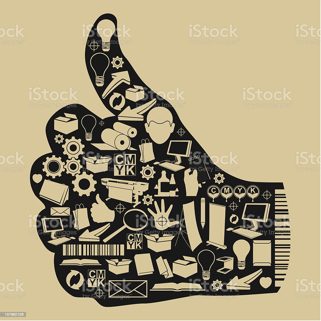 Process printing press and inkjet work. royalty-free stock vector art