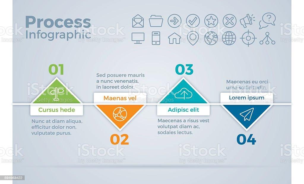 Process Timeline Steps Infographic vector art illustration