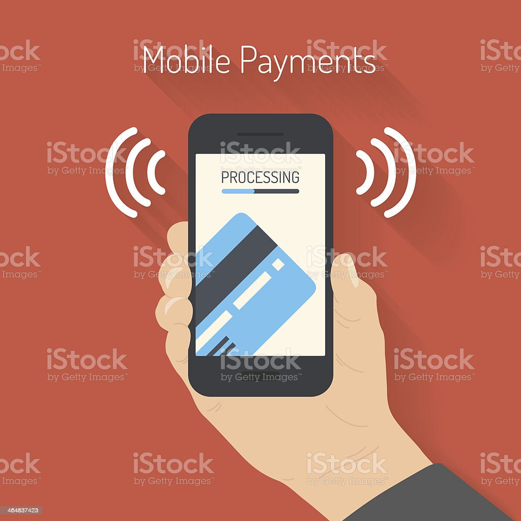 Processing of mobile payments illustration vector art illustration